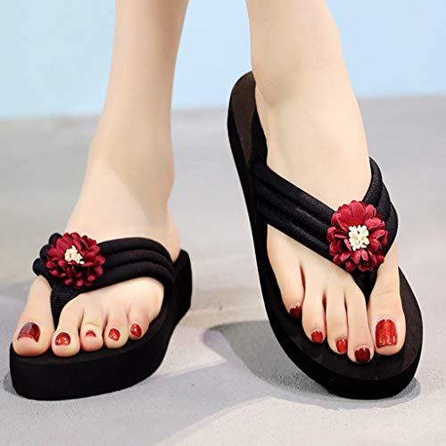 Clip Planos Playa Zapatos Chanclas Toe Zapatillas Mujeres De Rojo Cuñas Antideslizantes Verano 1nq5vTTwgR