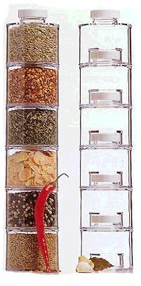 New Clear Acrylic Spice Rack, Spice Tower, Spice Jar Rack, Stackable, Set of 6 Spice Shaker Bottle Jars