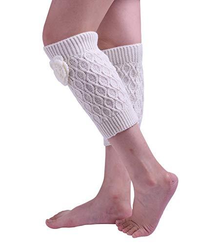 Nanxson Women's Winter Warm Solid Color Knit Twist Pattern Long Leg Warmer with Flower TTW0052 (white, one (Best Nanxson Winter Boots)