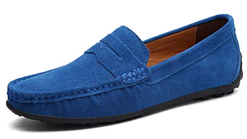 Go Tour Mens Driving Penny Loafers Suede Moccasins Slip On Casual Dress Boat Shoes Sapphire Blue 45