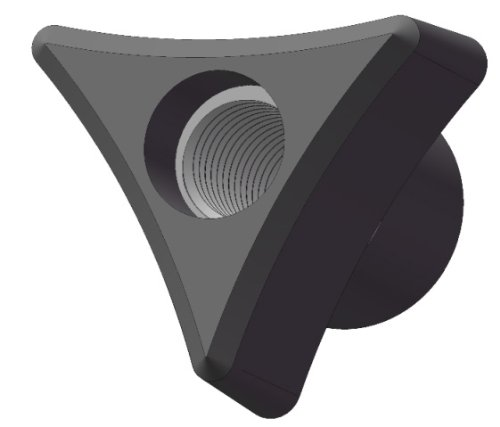 Pack of 10 Innovative Components AN4C-3P121 1.25 3 Prong knob thru hole 1//4-20 steel zinc insert black pp