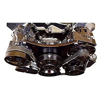 A-Team Performance Small Block Serpentine Front Drive System Complete With Brackets and Pulleys, Water Pump, Alternator, A/C Compressor and Power Steering Reservoir Compatible with Chevy Black: Automotive