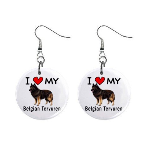 I Love My Belgian Tervuren Button Earrings