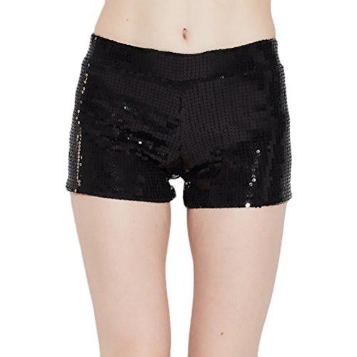Shorts Donna Eleganti Semplice Glamorous Hip Hop Glitter Paillettes Moda Pantaloni Corti Per Pantaloncini Festa Party Cocktail Balli Nero