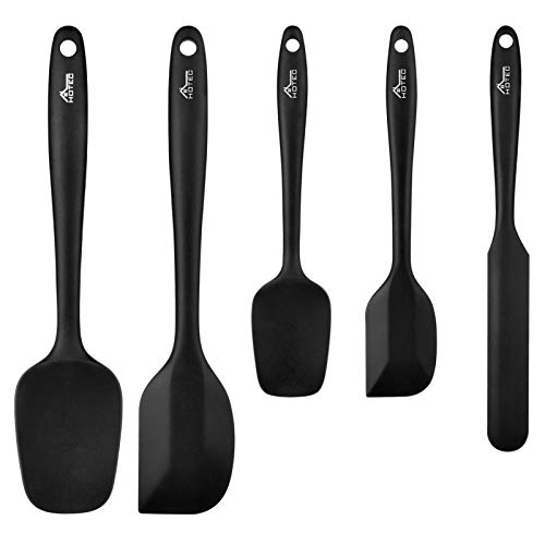 Hotec 5 pieces Food Grade Silicone Spatulas Set Kitchen Utensils for Baking, Cooking, and Mixing High Heat Resistant Rubber Non Stick Dishwasher Safe BPA-Free Black
