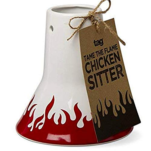 TAG Vertical Chicken Sitter Non-Stick Ceramic Beer Can Turkey Roaster Poultry Oven Kitchen Stoneware Stand Drunken Shaped Holder Baker