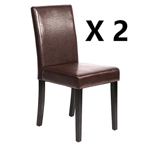 Mr Direct Set of 2 Urban Style Leather Dining Chairs With Solid Wood Legs Chair