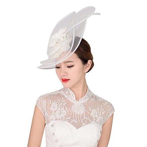 [BININBOX Womens Crystal Pearl Gauze Top Hat Fascinator Bridal Wedding Headpiece] (White Top Hat Fascinator)