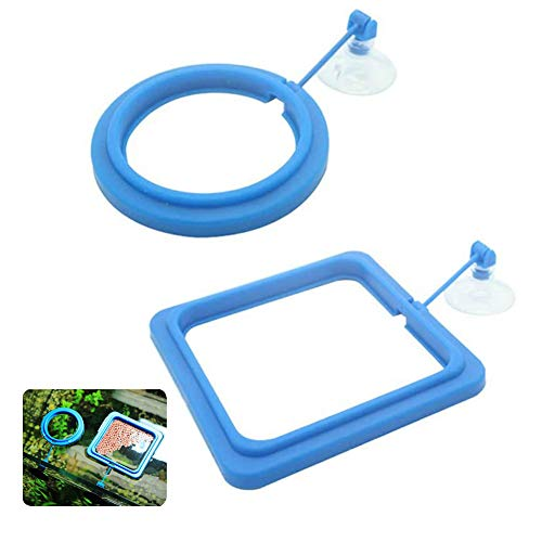- Kuiji 2 Pack Aquarium Fish Feeding Ring Fish Tank Floating Food Circle with Suction Cups, Round + Square-Blue