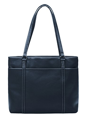 Blue Leather Tote Bag (Overbrooke Classic Laptop Tote Bag, Dark Blue - Vegan Leather Womens Shoulder Bag for Laptops up to 15.6 Inches)