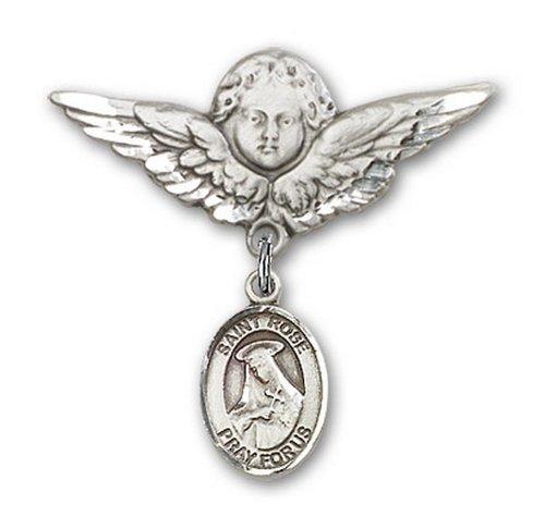 Icecarats Créatrice De Bijoux En Argent Sterling St. Rose De Lima Charme Ange Broche De Badge 1 1/8 X 1 1/8