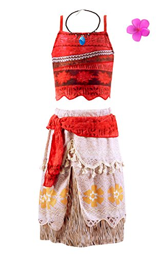 Padete Princess Moan Adventure Costume Halloween Cosplay Party Outfit (3-4 Years, Red)