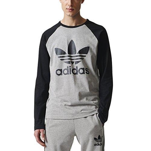 adidas Originals Men's Long Sleeve Trefoil Tee, Medium Grey Heather/Black, Small