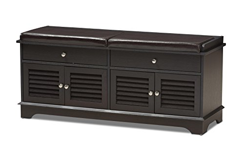 Entryway Traditional (Baxton Studio Laertes Modern and Contemporary Dark Brown Wood 2-Drawer Shoe Storage Bench)