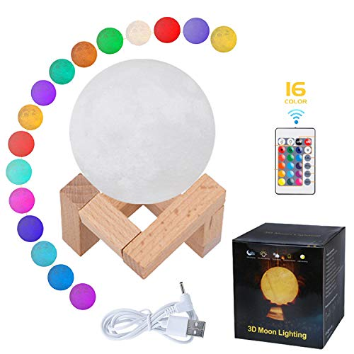 MaQma 3D Moon Lamp with Stand and Remote Control (5.9