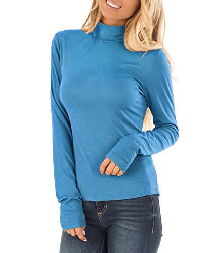 Dressation Womens Premium Long Sleeve Lightweight Turtleneck Pullover Top ()