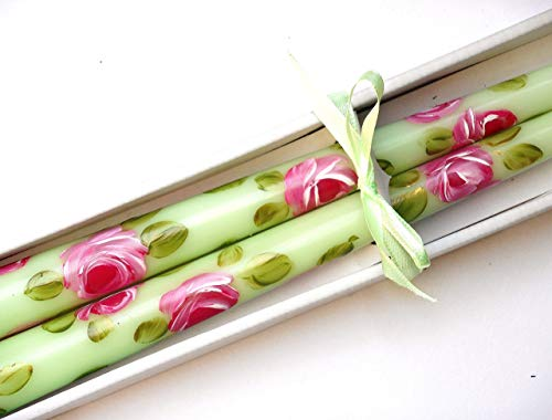 Decorative Romantic Light Green Unscented Dinner Taper Candles Set with Hand Painted Pink Roses in Gift Box