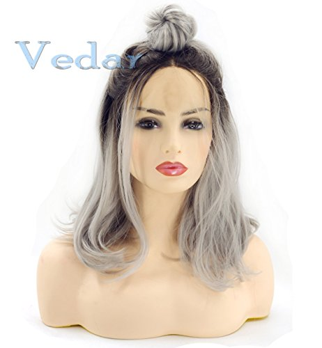 Good Vedar Beauty Ombre Grey Hair Short Bob Synthetic Lace Front