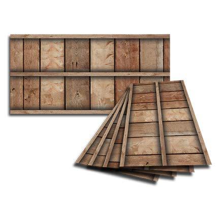 Golden Eagle Decor & Graphics Lot of 6 2x4 Glue Up Ceiling Tile Skin - Brown Framed Barnwood ()