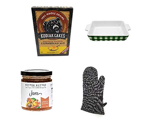 (Natural Cornbread Mix and Apricot Jalapeno Jam Bakers Gift Set with a Stoneware Baking Dish and Oven)