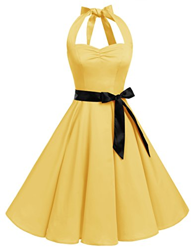Bbonlinedress 1950s Halter Vintage Retro Rockabilly Gown Cocktail Party Dress Yellow (Yellow Halter Gown)