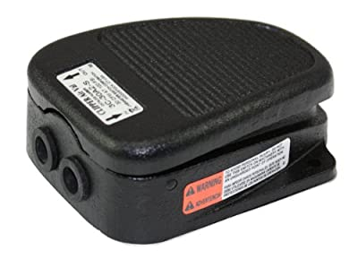 Linemaster 3C-30A2-S Clipper Airval Foot Switch, 3-Way Pneumatic, Single Pedal, Momentary, Single Stage, No Guard, Black
