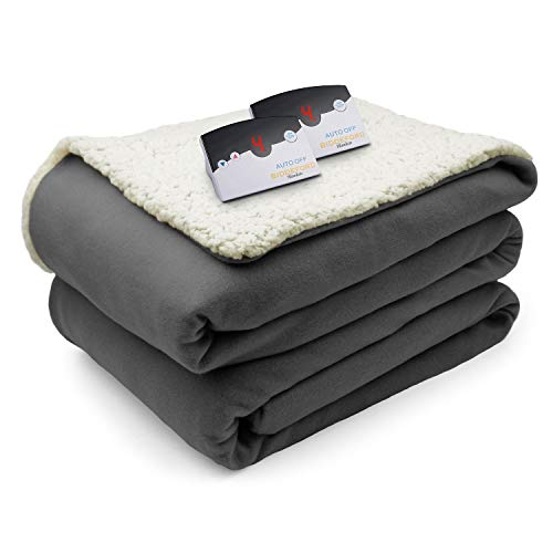 Biddeford Comfort Knit Fleece Sherpa Electric Heated Blanket
