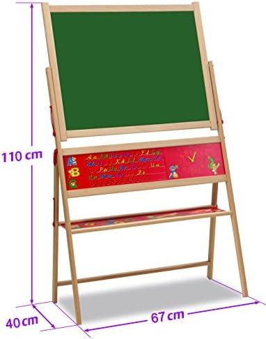 Eichhorn 100002579 - Magnet-Standtafel 40x67x110cm inkl. 48 Magnetbuchstaben, 10 Kreiden und Schwamm, Buchenholz