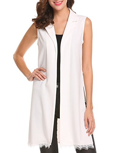 Zeagoo Women's Casual Duster Blazer Sleeveless Turn-Down Collar Chiffon Longline Cardigan Vest White Large by Zeagoo
