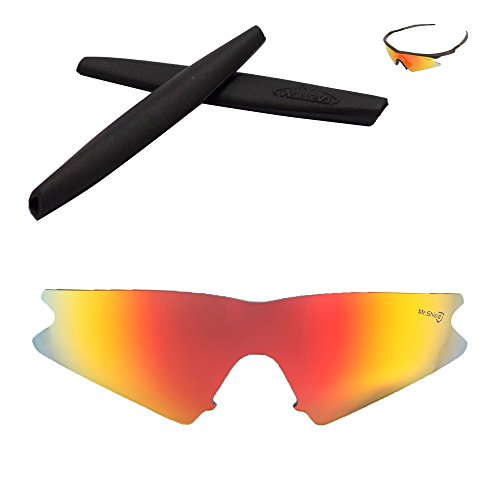 - Walleva Replacement Lenses + Rubber for Oakley M Frame Sweep Sunglasses - 26 Options Available (Fire Red - Mr. Shield Polarized Lenses + Black Rubber)