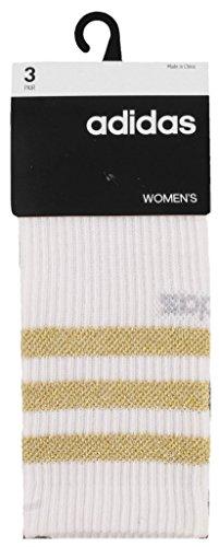 (adidas Women's 3-Stripe Crew Socks (3-Pack), White/Gold Lurex/Clear Onix/Black, Size 5-10)