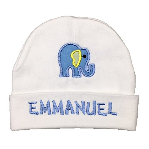 Personalized Baby hat for a Baby Girl or Baby boy with Elephant appliqué - Custom Preemie hat, Monogrammed Newborn hat, Animal, Safari, Zoo Baby Gift (3-6 Months) - Hats Baby Monogrammed