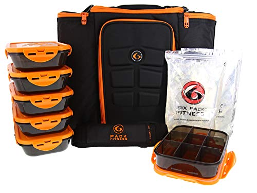 (6 Pack Fitness Insulated Meal Prep Bag, Innovator 500 Black/Neon Orange (5 Meal))