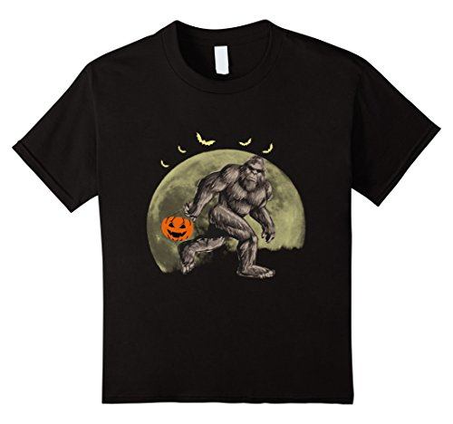 Kids Bigfoot Halloween Costume Pumpkin T Shirt 4 Black
