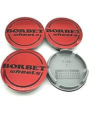 Borbet Wheels naafdoppen, 56 mm, velgdeksel, rood, Center Cap deksel, 4 stuks