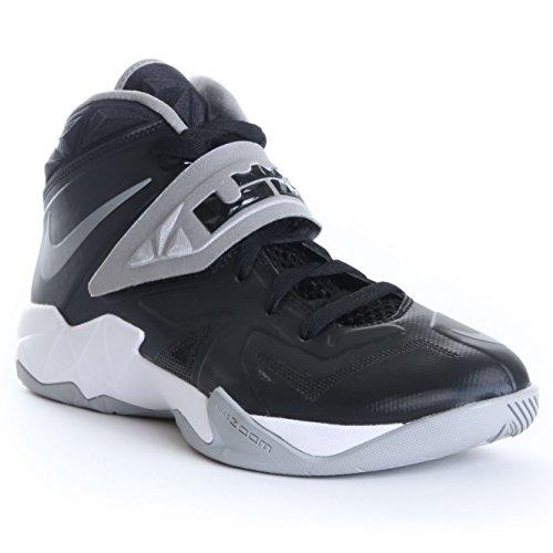 Nike Mens Zoom Soldier VII Basketball Shoes Black/Metallic Silver/White 599263-001 Size 11.5