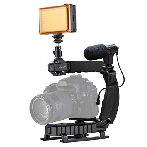 Blingdots Portable Handheld DV Bracket Stabilizer LED Studio Light Video Microphone Kit Cold Shoe Tripod for Gopro/SLR Enhance Stability of Video Filming
