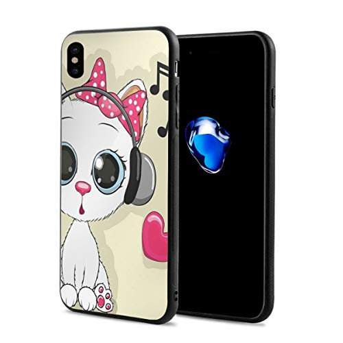 Phone Case Cover for iPhone X XS,Cartoon Kitty with Headphones Heart Bubbles and Musical Tunes Big Eye Animal,Compatible with iPhone X/XS 5.8