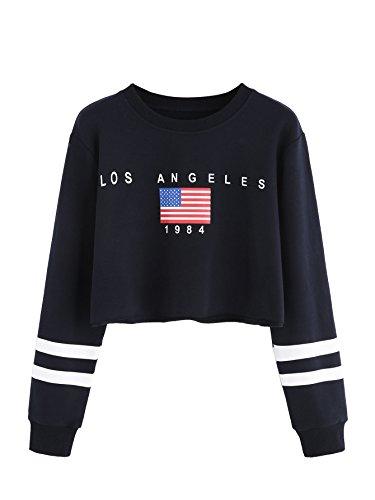 MAKEMECHIC Womens Round Neck Casual Letter Print Striped Crop Sweatshirt Top