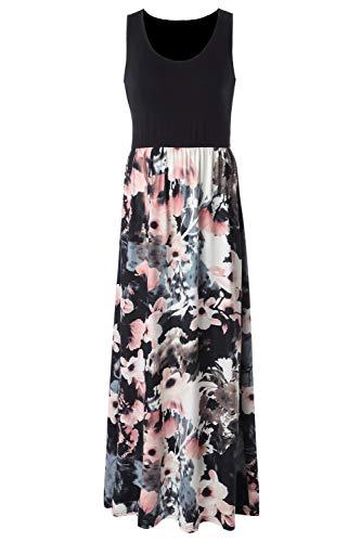 Zattcas Womens Summer Contrast Sleeveless Tank Top Floral Print Maxi (Jacket Top Dress)