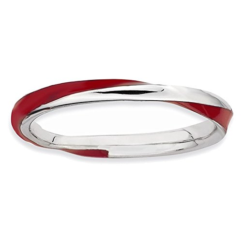 Sterling Silver Stackable Expressions Twisted Red Enameled Ring Size 6 from Jewelry Adviser Stackable Rings