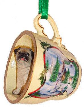 pug dog holiday scene teacup tea cup christmas ornament