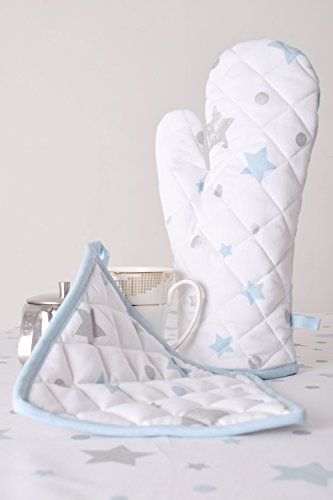 Lushness_Linen Glittering Stars 100% Cotton Set of Oven Mitt & Pot Holder