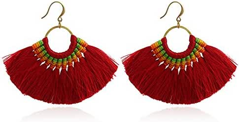 SEVENSTONE Brass Tassel Earrings Anti-allergy Handwork Tassel Drop Dangle Earrings for Women girls