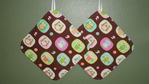 Pot Holders Reversible, Brown Pink Aqua OWLS Hot Pads, Durable, Hot Mats, OWLS Kitchen linens