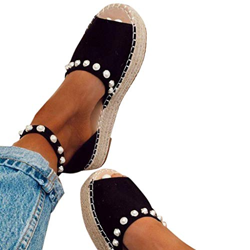 Pearl Platform Sandals for Women, Leopard Espadrilles Wedges, Open Toe Flatform Sandals Roman Shoes with Ankle Strap Black