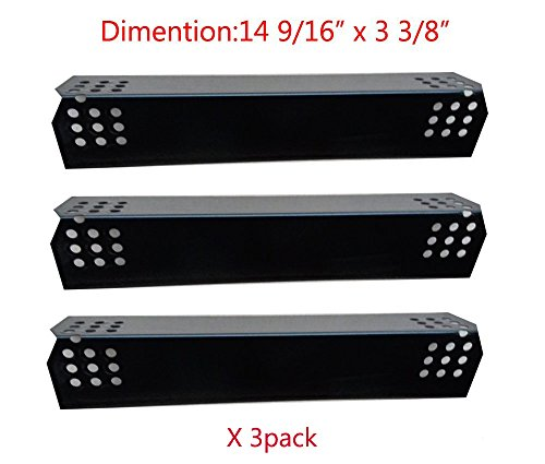"""BBQ Mart PP7371 (3-pack) Porcelain Steel Heat Plate Replacement for Select Grill Master and Uberhaus Gas Grill Models (14 9/16"""" x 3 3/8"""")"""