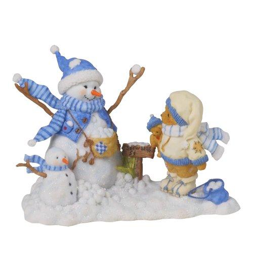 Enesco Cherished Teddies Collection Bear and Snowman Figurine