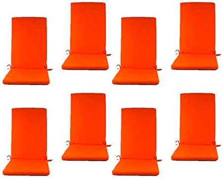 Edenjardi Pack 8 Cojines para sillones de jardín reclinables Color Naranja, Tamaño 114x48x5 cm, Repelente al Agua, Desenfundable: Amazon.es: Jardín