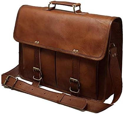 43 Cm Bolso Bandolera Laptop Bag Bolsa De Hombro Cuerpo Cruzado Grande para Mensajero Mensajeria De Cuero Piel Marron Portatil Notebook Bag College